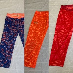 Under Armour GIRLS YOUTH  HEAT GEAR Rock Block Leggings Capris  SIZE S /& M  NWT